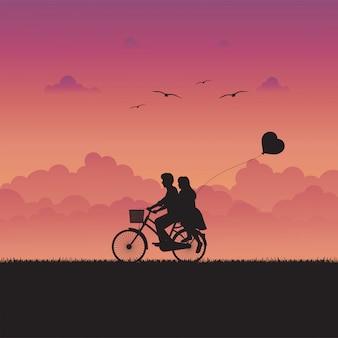 Illustrazione di amore e paesaggio romantico con coppia in amore