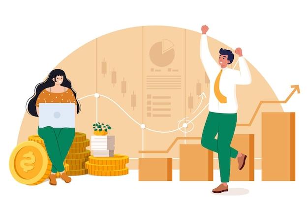 Illustrazione di analisi del mercato azionario