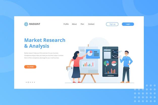 Illustrazione di analisi e ricerche di mercato per il concetto di e-commerce sulla pagina di destinazione