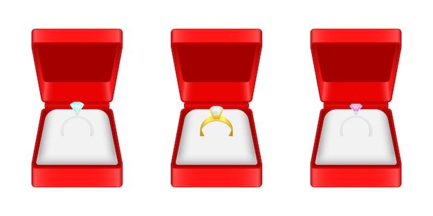 Illustrazione di anello di fidanzamento su sfondo bianco