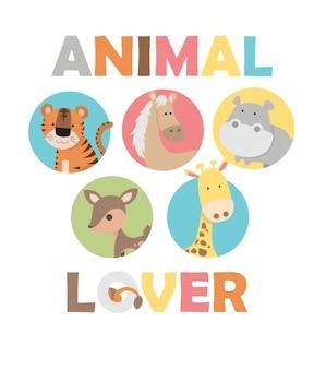 Illustrazione di animali grafica carino con slogan