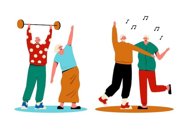 Illustrazione di anziani attivi