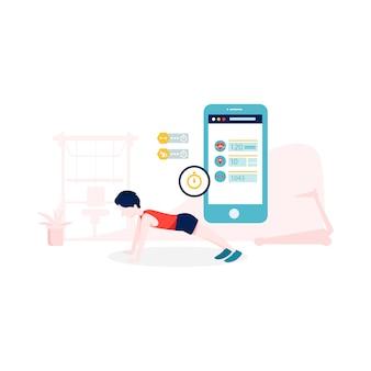 Illustrazione di app fitness in stile piano