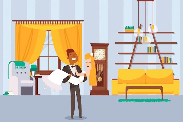 Illustrazione di appartamento innewlyweds antica dell'orologio di legno. lo sposo del personaggio porta a portata di mano la sposa in abito da sposa bianco.
