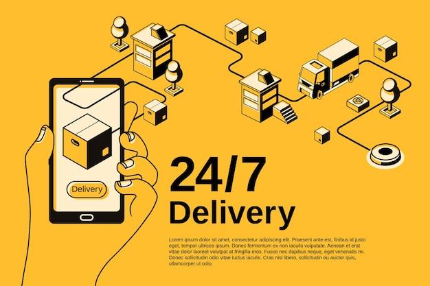Illustrazione di applicazione del servizio di consegna per il monitoraggio della spedizione di pacchi postali su smartphone.