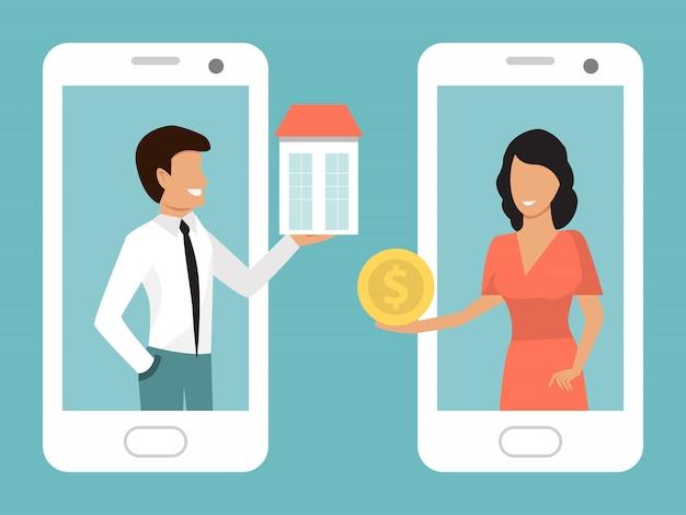 Illustrazione di applicazione smartphone prenotazione hotel online, appartamenti, ostelli