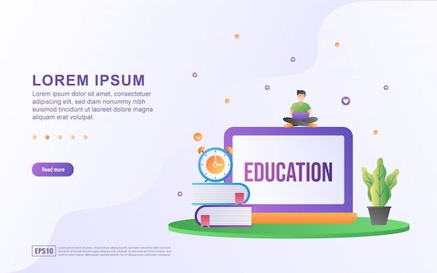 Illustrazione di apprendimento online e corsi online con libro e icona del computer.