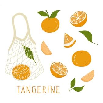Illustrazione di arance in un sacchetto, arance, fette di arance, foglia di arancia, agrumi, mandarino
