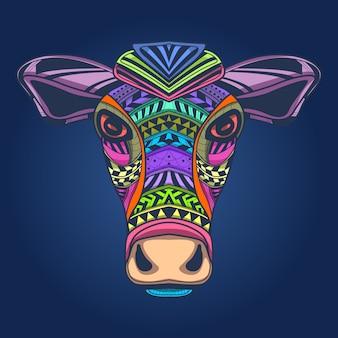 Illustrazione di arte del viso di mucca