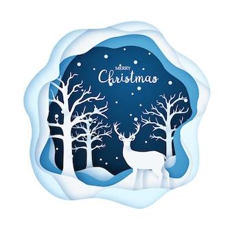 Illustrazione di arte di carta, cervi in una foresta nevosa.