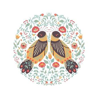 Illustrazione di arte di una bella corona floreale con un simpatico uccello folk.