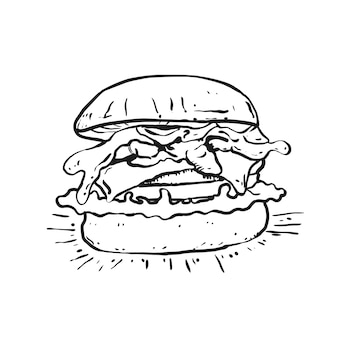 Illustrazione di arte linea hamburger