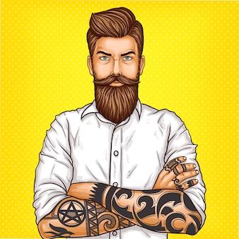 Illustrazione di arte pop di vettore di un brutale uomo barbuto, macho con tatoo