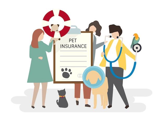 Illustrazione di assicurazione dell'animale domestico
