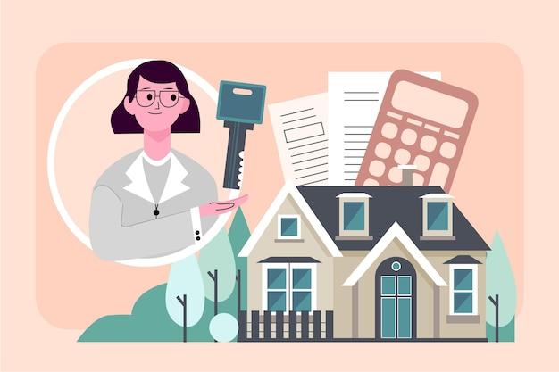 Illustrazione di assistenza agente immobiliare con donna e chiave