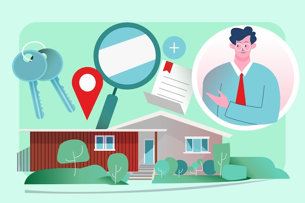 Illustrazione di assistenza dell'agente immobiliare con l'uomo
