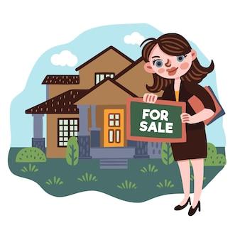 Illustrazione di assistenza dell'agente immobiliare con la donna