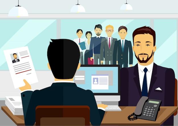 Illustrazione di assunzione di intervista di reclutamento