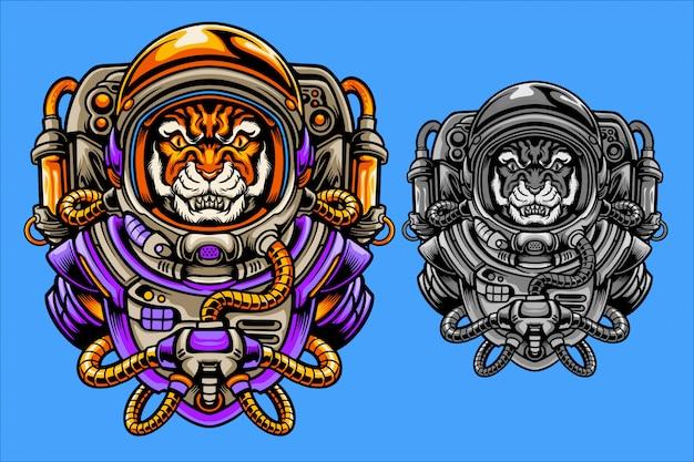 Illustrazione di astronauta tigre