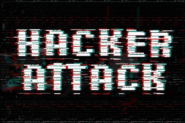 Illustrazione di attacco di hacker. testo effetto glitch.