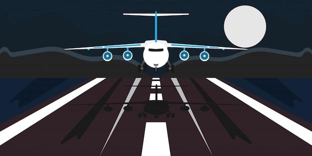 Illustrazione di atterraggio dell'aeroplano