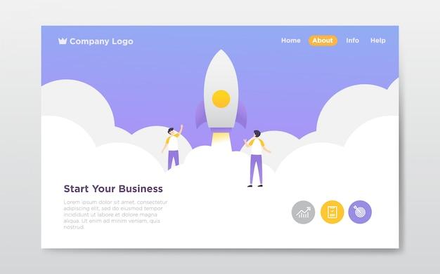 Illustrazione di atterraggio di avvio di affari