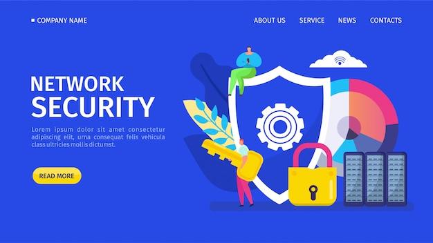Illustrazione di atterraggio di sicurezza della rete. programma per rilevare virus informatici e recuperare file infetti o sistema operativo