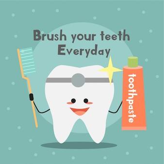 Illustrazione di attività di pulizia dei denti