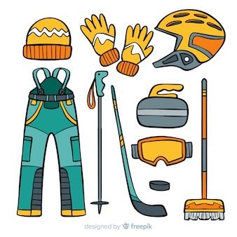 Illustrazione di attrezzature di curling