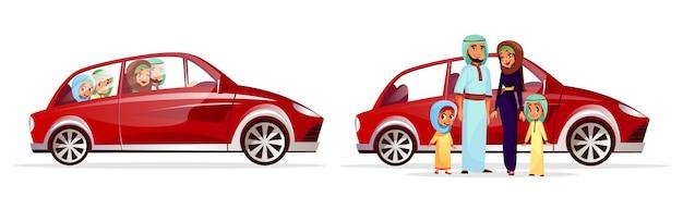 Illustrazione di auto famiglia araba. personaggi dei cartoni animati arabi di madre e padre