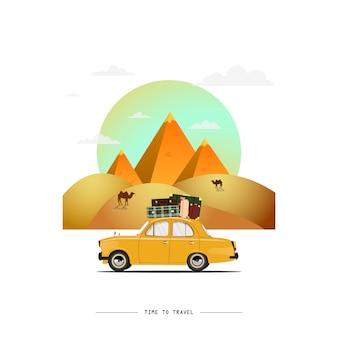 Illustrazione di auto in viaggio