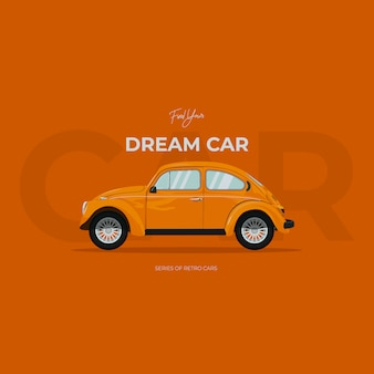 Illustrazione di auto retrò. macchina dei sogni