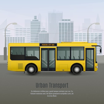 Illustrazione di autobus città realistica
