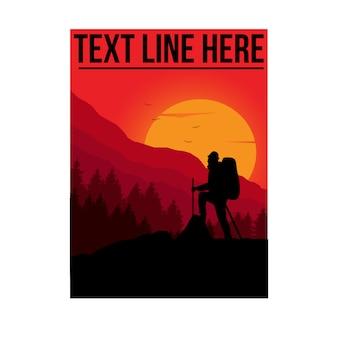 Illustrazione di avventuriero con modello di linea di testo