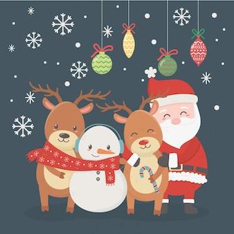Illustrazione di babbo natale, cervi, pupazzo di neve e palle