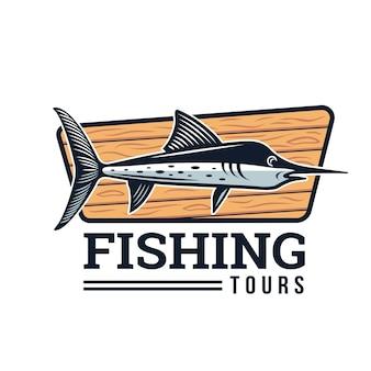Illustrazione di badge logo di pesca estate moderna
