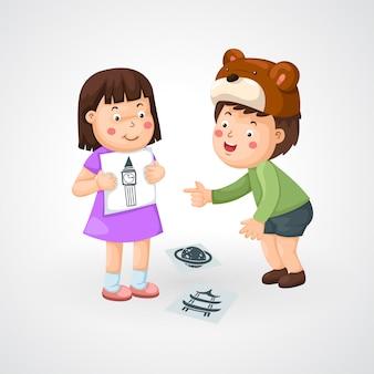Illustrazione di bambini isolati facendo i compiti