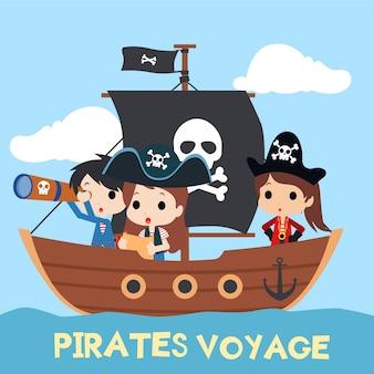 Illustrazione di bambini pirata con carattere carino