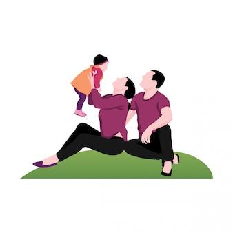 Illustrazione di bambino e genitore