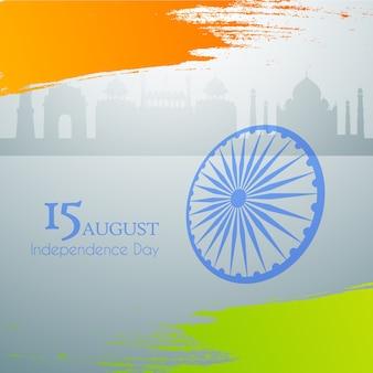 Illustrazione di bandiera tricolore indiana con ruota su sfondo grigio