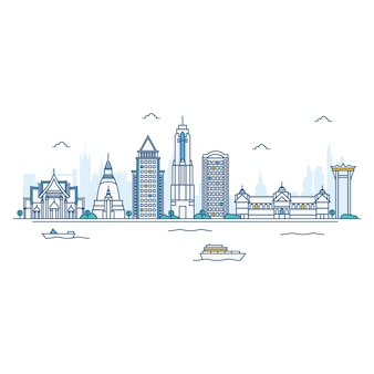 Illustrazione di bangkok skyline.
