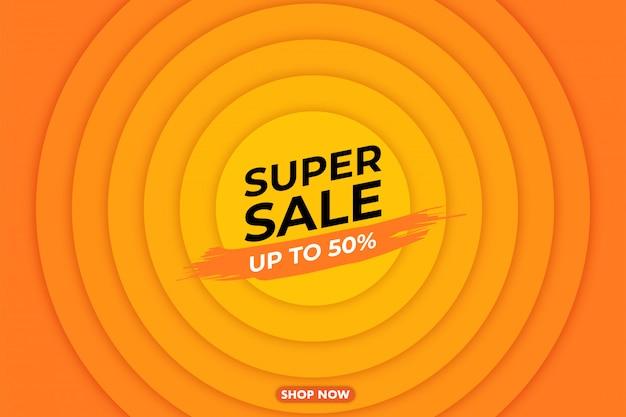 Illustrazione di banner di grande vendita moderna super, banner web, carta sconto, promozione, layout flyer, annuncio, pubblicità, supporti di stampa.