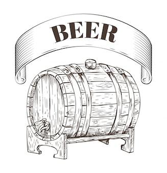 Illustrazione di barile di legno di stoccaggio della birra