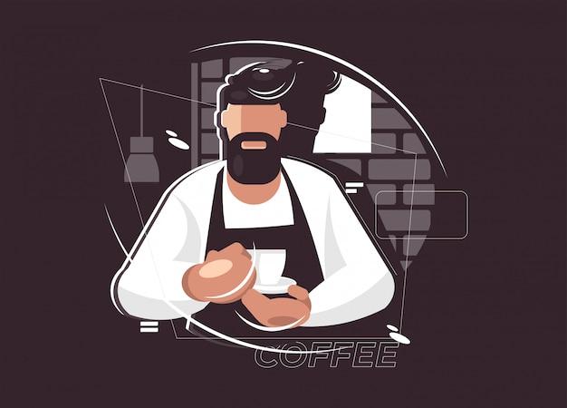 Illustrazione di barista. concetto di pausa caffè