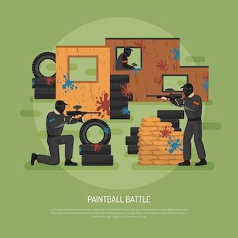 Illustrazione di battaglia di paintball