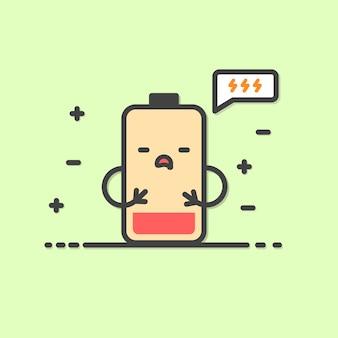 Illustrazione di batteria affamata bassa carina