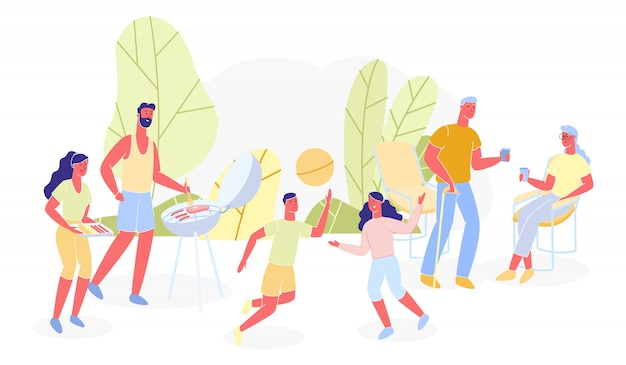 Illustrazione di bbq per famiglie diverse generazioni piatte.