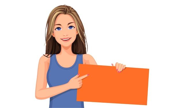 Illustrazione di bella donna in possesso di un bordo bianco arancione