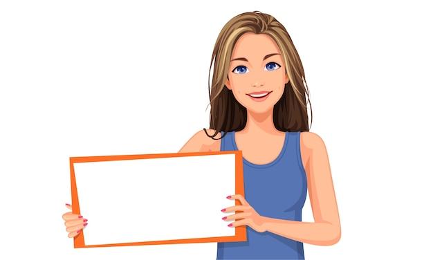 Illustrazione di bella donna in possesso di un bordo bianco