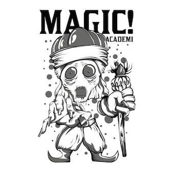 Illustrazione di bianco e nero di magic academy